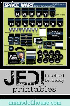 Star Wars Party Printable Collection. Easy to print at home party decorations for your Jedi birthday party. Star Wars inspired Printables for your party via @mimisdollhouse
