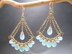 Sea Blue Chalcedony Chandelier Gemstone by CalicoJunoJewelry