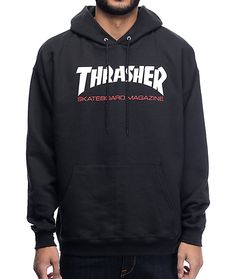 Get a classic skate style with the Thrasher Skateboard Magazine Two Tone black hoodie. This fleece lined pullover sweatshirt features a screen printed Thrasher Skate Mag text graphic on the chest and is finished with an adjustable drawstring hood and kang Zip Hoodie, Crew Neck Sweatshirt, Zip Up Hoodies, Sweatshirts, School Hoodies, Thrasher Skate, Skate Style, Green Bikini, Athletic Outfits