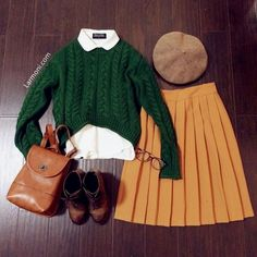 My favorite outfit in Junior high. Still a favorite look! Chunky Oversize Crop Cable Sweater : The Art of Vintage-inspired & Cute Women's Clothing Mode Chic, Mode Style, Club Style, Spring Fashion Trends, Winter Fashion, Mode Outfits, Fashion Outfits, Skirt Outfits, Female Outfits