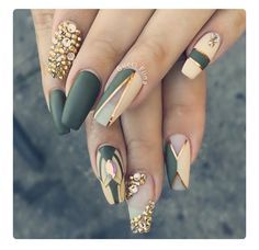 Classy Nails in 2019 Nail Art Nails Olive nails<br> Green Nail Designs, Acrylic Nail Designs, Acrylic Nails, Nail Art Designs, Nails Design, Unique Nail Designs, Fabulous Nails, Gorgeous Nails, Pretty Nails