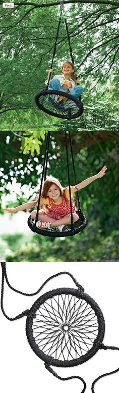 Round-and-Round Outdoor Swing, Swing away! This unique Round-and-Round Nylon Rope Outdoor SwingTM brings the thrill of your child's favorite playground tire swing to your backyard.Kids can sit in a variety of positions on the handw. Diy Swing, Rope Swing, Nest Swing, Backyard Playground, Backyard For Kids, Children Playground, Backyard Swings, Playground Ideas, Backyard Toys