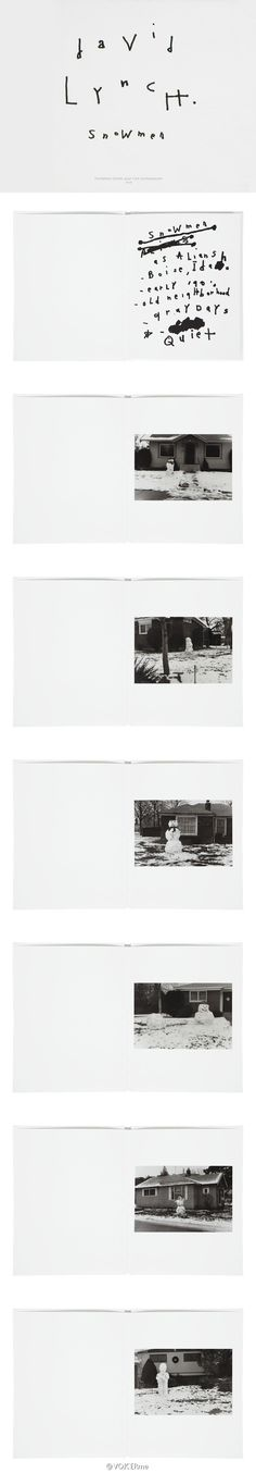摄影集|Merry Xmas[din癫当xmas]借着导演David Lynch的摄影集《Snowmen》祝大家圣诞快乐!这些雪人的照片是Lynch在1990年代早期于Boise郊区拍摄的,由Fondation Cartier出版。
