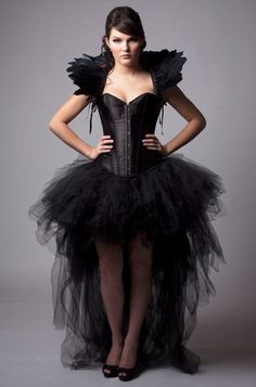 Custom Black Queen Corset Dress Burlesque Costume Feather High Collar Wedding Gown