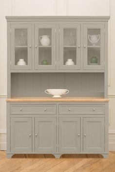 The Large Woburn Dresser, painted in Saltmarsh from The Kitchen Dresser Company Kitchen Dresser, Kitchen Pantry Cabinets, Modern Kitchen Cabinets, Kitchen Paint, Home Decor Kitchen, Kitchen Furniture, Kitchen Design, Office Furniture, Large Dresser