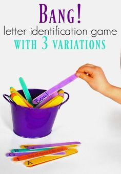 the Letter Identification Game and It's 3 Variations BANG!…the Letter Identification Game and Its 3 Variations: This letter identification game for preschoolers takes no time at all to prepare Learning Games For Preschoolers, Fun Learning Games, Letter Activities, Kids Learning, Letter Games For Kids, Letter Sound Games, Ela Games, Phonics Games, Learning Spanish