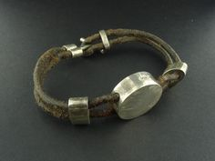 """Solid Sterling Silver Accented Leather Bracelet 8.5"""" Double Strand 925 26g BS379"""