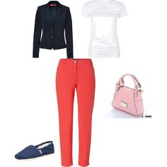 """""""Styling Coral Jeans"""" by radsstylebook on Polyvore"""