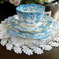 ♥•✿•♥•✿ڿڰۣ•♥•✿•♥   Antique Star China Fairy Shape BLUE FLORAL TRIO - c1911 Cup Saucer Plate. Star China Company became the Paragon China company that we know of today.  ♥•✿•♥•✿ڿڰۣ•♥•✿•♥