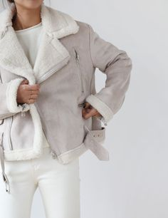 White jeans and white sherling coat