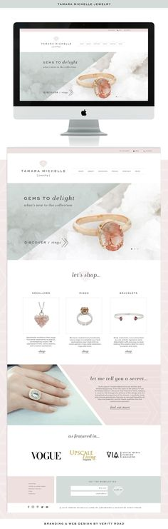 branding web design for tamara michelle jewelry feminine brand styling Web Design Trends, Design Web, Design Color, Website Layout, Website Link, Ecommerce, Design Responsive, Branding Design, Logo Design
