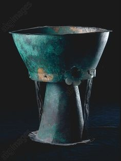 Etruscan Goblet from Caere ~ 1st quarter of the 6th century BC ~ Bronze sheet ~ height 26.5cm ~ Found in: Caere (Cerveteri), Banditaccia necropole, Tomba delle Olive