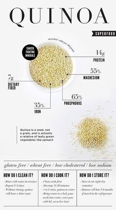 Quinoa . . . . . . . . . . . . . . . . . . . .   ↟ ♥ ♥ ♥ ↟ 24 Diagrams Glory For Healthy Lifestyle: VISUAL INFOGRAPHICS <3 <3 <3  https://www.pinterest.com/pin/530369293593016513/  https://www.pinterest.com/pin/296252481712517220/ https://www.pinterest.com/pin/151644712429414775/    .................................................    ↟ ♥ ♥ ♥ ↟ Berkeley Wellness | Cooking Grains & Food Guide: VISUAL INFOGRAPHICS <3 <3 <3 https://www.pinterest.com/pin/573716440005706001/