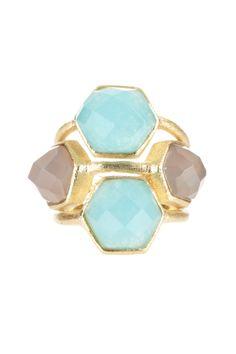 Rivka Friedman 18K Gold Clad Caribbean Blue Quartzite & Grey Chalcedony Deco Design Ring