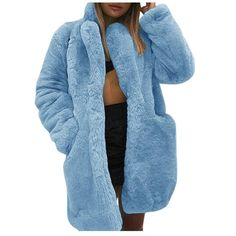 PPkloth Womens Coats Winter Plus Size Faux Fur Plush Solid Color Cardigan Long Trench Outwear Winter Coats Women, Coats For Women, Jackets For Women, Winter Jackets, Fur Jacket, Fur Coat, Long Overcoat, Long Cardigan, Hooded Cardigan