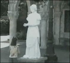 What do you know of the weeping angels? (gif) This is the funniest thing ever, that poor girl though!!