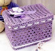 Risultati immagini per croche endurecido Art Au Crochet, Crochet Box, Crochet Basket Pattern, Crochet Gifts, Crochet Doilies, Free Crochet, Knit Crochet, Doily Patterns, Crochet Patterns