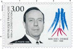 Timbre : 1998 1958-LA CONSTITUTION MICHEL DEBRÉ 1912-1996 | WikiTimbres