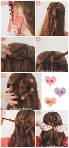Heart Bun Put your hair half up, in 2 small ponytails right next to each other.  Now twist the right ponytail in a downward motion and slide a bobby pin into the base near the ponytail holder. This will keep it anchored as you twist.  Next, wrap the ponytail up and over as you see in photo 4 to create the top of the heart. Keep twirling in the same direction. Add bobby pins to these 3 places. Repeat on the other side. Add one more bobby pin at the bottom of the heart for extra security.