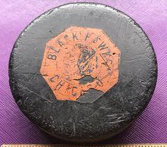 Estate Old CCM Chicago Blackhawks NHL Art Ross Tyer Rubber Used Game Hockey Puck  | eBay