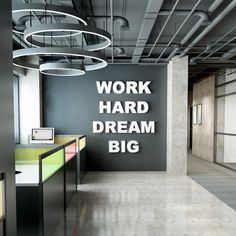 Work Hard Dream Big Dimensional Quote for Office Motivation Corporate Office Design, Office Wall Design, Workspace Design, Modern Office Design, Office Interior Design, Office Interiors, Corporate Offices, Office Wall Graphics, Office Wall Decals