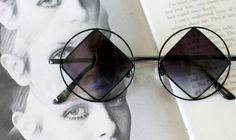 1990s DIAMOND Sunglasses.....john lennon. triangle. round lens. rudeboy.  retro sunglasses. black sunglasses. hippie. boho. urban. hipster f6bf5f04ef30
