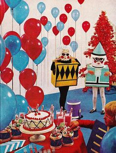 Vintage birthday parties mush have red and blue balloons and lots of jelly beans. Happy Birthday, Birthday Greetings, Birthday Wishes, Birthday Parties, Birthday Celebration, Storybook Party, Vintage Cookbooks, Colorful Candy, Vintage Birthday