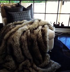 wolf fur blanket for warm cuddles with a good book on a cold morning. Fur Blanket, Merino Wool Blanket, Wolf, Interior Decorating, Cuddles, Pillows, Blankets, Cabinet, Rugs