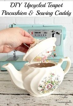 Keep curious pets and children safe from stick pins with this amazing upcycled teapot pincushion craft project by Sadie Seasongoods! Sewing pins and needles live safely under the lid of a teapot (or sugar bowl!), safely tucked away from curious pets and kids...plus it