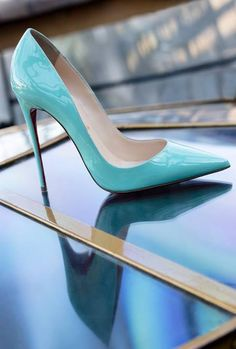 Christian Louboutin ~ Patent Leather Stilettos, Aqua