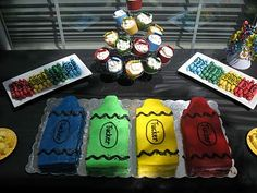 This is the cutest idea for a crayola party! Look at all of the ideas she had