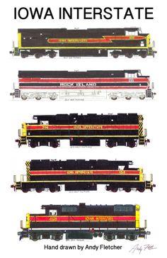 5 hand drawn Iowa Interstate locomotive drawings by Andy Fletcher