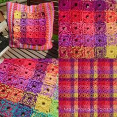 Bright Tartan Granny Squares - If you like bright colors you must see this lady's work.