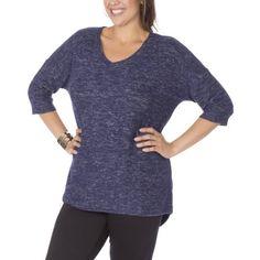 Plus Size Plus Moda Women's Plus Vneck Knit Tee, Size: 1XL, Blue