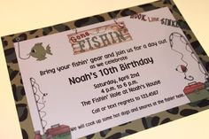 Fishing Birthday Invitations by PaperMonkeyCompany on Etsy, $1.00
