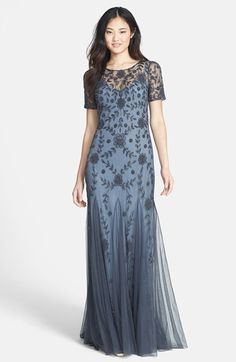 Adrianna Papell Beaded Mesh Illusion Gown (Regular & Petite) available at #Nordstrom