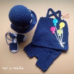 Conjunto bebe tejido a crochet y hecho a mano.