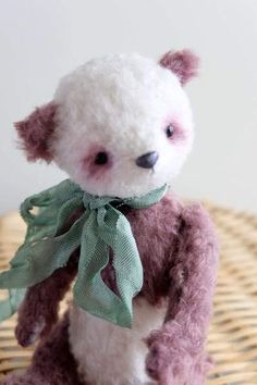 Panda Flora By Evgenia Golikova - Flora from the collection BotanicBears. Flora sewn from viscose and flockfabric.Bear's nose is made manually from milliput, after drying- toningacrylic paints.Stuffed with sawdust of coniferous trees.Toning - oil paints. Height- 15 cm.Glass eyes.6 cotte...