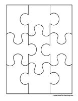 puzzle pieces template for bulletin board ...site has templates for puzzles with more pieces too!