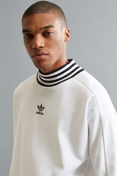 Slide View: 1: adidas Ribbed Mock Neck Sweatshirt