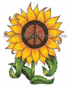 Sunflower Peace SIgn  www.noparadigmdesigns.com