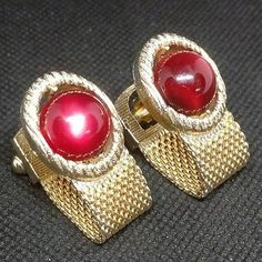 bb06b4ef102 1970s Mesh Wrap Cufflinks Ruby Red Moonglow Lucite Cabochon Gold Tone Swank  Vintage Cuff Links Designer Gift for Him, Groom, Birthday