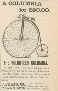 1890 Columbia bicycle ad