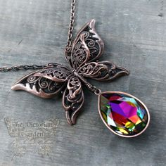 BUTTERFLY KISS Victorian butterfly necklace in antiqued copper with Swarovski crystal drop, free gift boxing