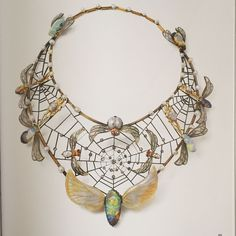Charles Boutet de Monvel. Necklace 1900. 18k yellow gold, silver, opal, glass, ruby, Pearl, Diamond.