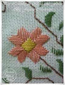 Bordados Tambour, Straight Stitch, Bargello, Needlepoint, Projects To Try, Hair Accessories, Embroidery, Rugs, Creative