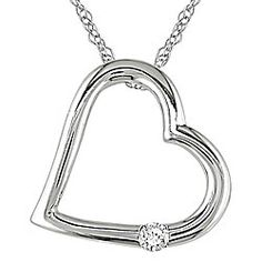 Diamond heart necklace from Miadora. Its elegance is comes from the ten carat white gold that creates a heart-shaped design and a round-cut diamond.