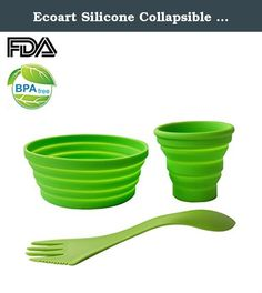 Ecoart Silicone Collapsible Bowl Cup Set with Spork for Outdoor Camping Hiking Travel - Set of 3. Your Reliable Mess Kits Our silicone collapsible cup and bowl set is built to be your great partner during your travel, hiking, camping trips, lunches, picnics or other sport events. The cup and bowl made of premium quality silicone are versatile, safe to use, and eco-friendly. They are durable enough to be reused for protecting the environment and saving money for you. Our silicone cup bowl…