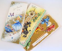 Vintage Greeting Card Three Happy Birthday Cards by teresatudor, $5.50