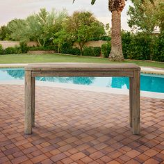 """Hamptons Outdoor 54"""" Rectangle Console Table in Weathered Teak 